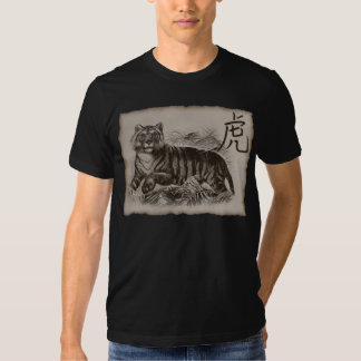 Negro del tigre del zodiaco poleras