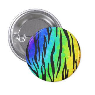 Negro del tigre e impresión del arco iris pin redondo de 1 pulgada