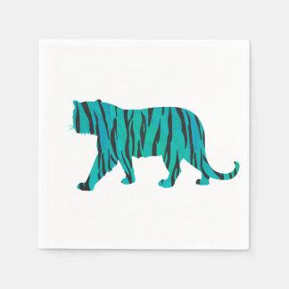 Negro del tigre e impresión del trullo servilletas de papel