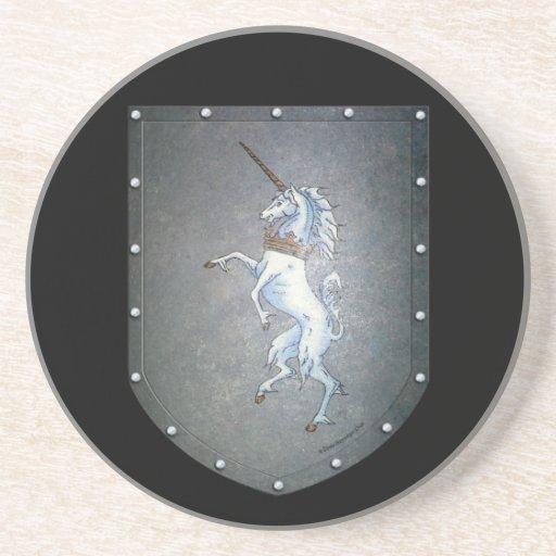 Negro del unicornio del escudo del metal posavasos manualidades