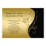 Negro del vintage e invitación del boda del oro