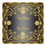 Negro del vintage e invitación elegantes del oro