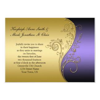 Negro del vintage e invitación púrpuras del boda
