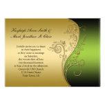 Negro del vintage e invitación verdes del boda del