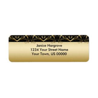 Negro del vintage y etiqueta del remite del oro etiquetas de remite