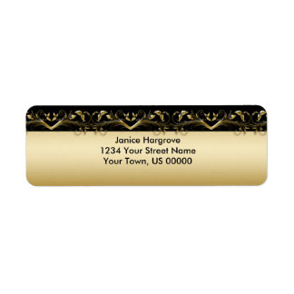 Negro del vintage y etiqueta del remite del oro etiqueta de remite