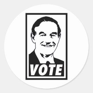 Negro del voto 2012 de Ron Paul Pegatina Redonda