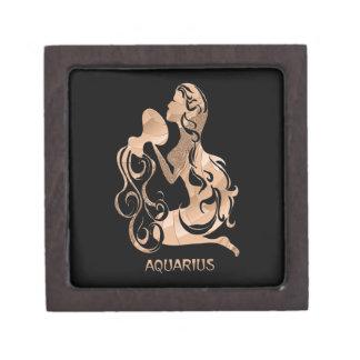 Negro del zodiaco del acuario caja de joyas de calidad