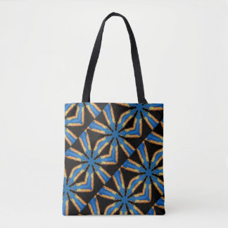 negro diagonal del modelo de estrellas azules bolsa de tela