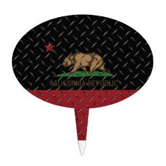 Negro Diamondplate de la bandera de la república d Decoraciones De Tartas