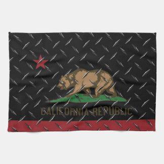 Negro Diamondplate de la bandera de la república d Toallas De Cocina