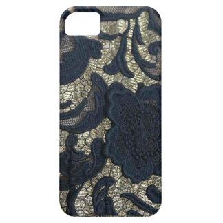Negro/diseño floral del cordón del oro iPhone 5 carcasas