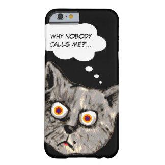 negro divertido del dibujo animado del gato funda para iPhone 6 barely there