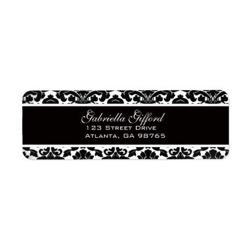 Negro divino del damasco del vintage etiquetas de remite