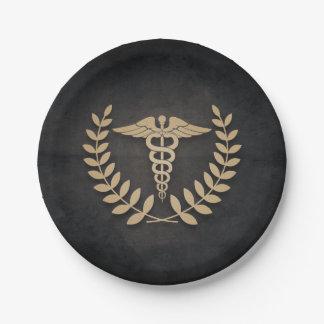 Negro+Doctor/enfermera médicos del símbolo del Plato De Papel De 7 Pulgadas