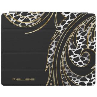 Negro e impresión animal de Swirly del oro Cubierta De iPad