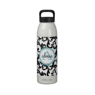 Negro e impresión con monograma del damasco de la  botella de beber