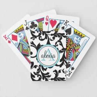 Negro e impresión con monograma del damasco de la  barajas de cartas