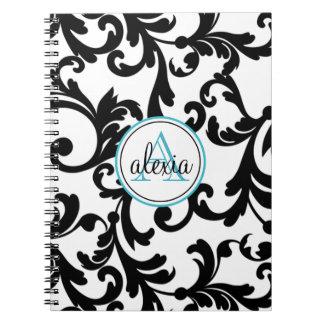 Negro e impresión con monograma del damasco de la  cuadernos