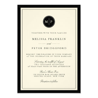 Negro e invitación clásicos del boda del monograma