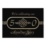 Negro e invitación del aniversario de boda del oro