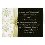 Negro e invitación del boda del damasco del oro do felicitacion