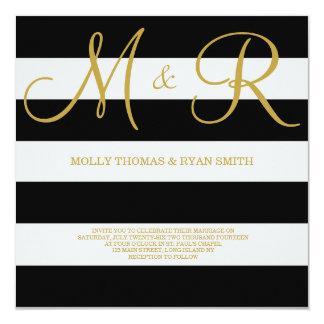 Negro e invitación del boda del monograma del oro