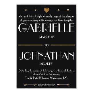 Negro e invitación del boda del oro