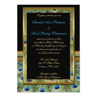 Negro e invitación del boda del pavo real del oro