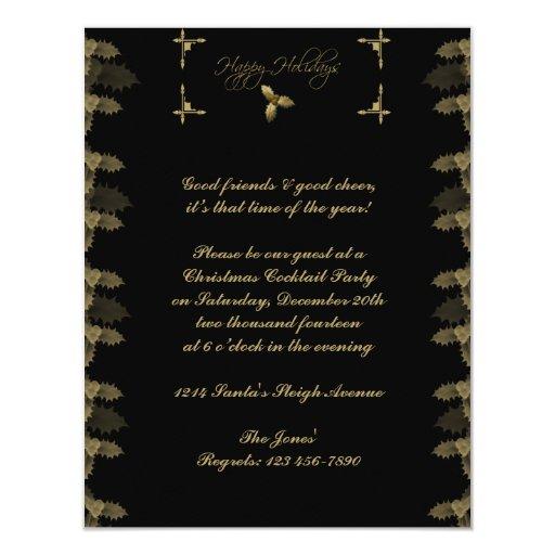 Negro e invitación elegante del fiesta del acebo invitación 10,8 x 13,9 cm