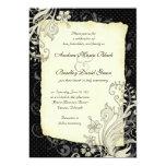 Negro e invitación floral de marfil del boda