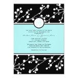 Negro e invitación floral del boda del monograma invitación 12,7 x 17,8 cm