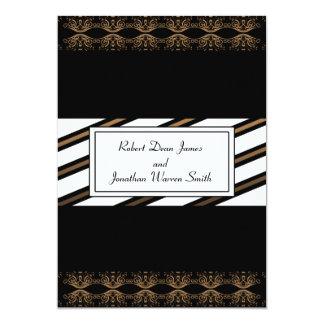 Negro e invitación gay del boda del oro invitación 12,7 x 17,8 cm