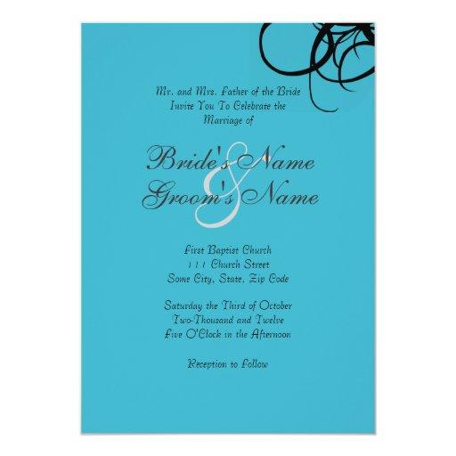Negro e invitación retra del boda de la turquesa
