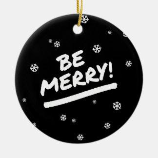 Negro+El blanco sea felices copos de nieve del día Adorno Navideño Redondo De Cerámica