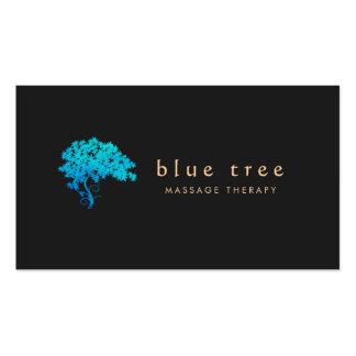 Negro elegante 3 del logotipo del árbol del zen de tarjetas de visita