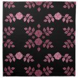 Negro elegante con el estampado de flores rosado servilleta imprimida