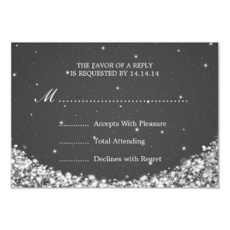 Negro elegante de la chispa de la estrella de RSVP Invitación 8,9 X 12,7 Cm