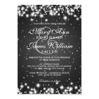 Negro elegante de la chispa del invierno del boda invitación 12,7 x 17,8 cm