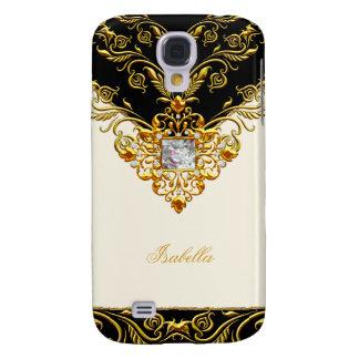 Negro elegante de la crema del oro en monograma de funda para galaxy s4