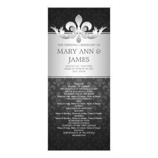 Negro elegante de la flor de lis del programa del  invitaciones personalizada