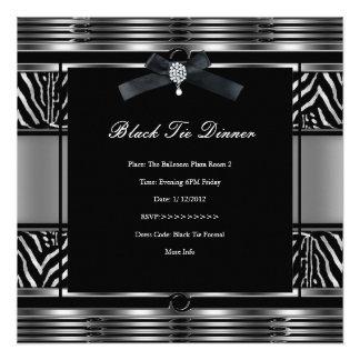 Negro elegante de la plata de la cebra de la cena  anuncios