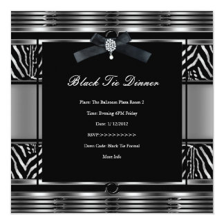 Negro elegante de la plata de la cebra de la cena invitación 13,3 cm x 13,3cm
