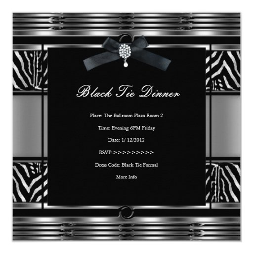 "Negro elegante de la plata de la cebra de la cena invitación 5.25"" x 5.25"""