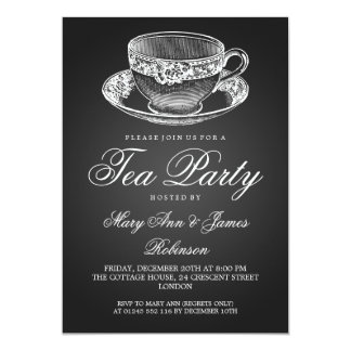 """Negro elegante de la taza de té del vintage de la invitación 5"""" x 7"""""""
