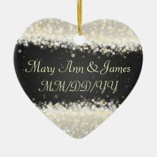 Negro elegante de las chispas del deslumbramiento adorno navideño de cerámica en forma de corazón