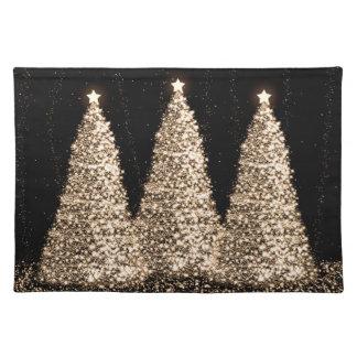 Negro elegante de los árboles de navidad del oro manteles individuales