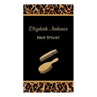 Negro elegante del cepillo y salón de pelo del tarjetas de visita
