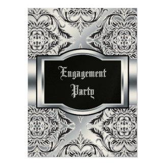 """Negro elegante del damasco, blanco, plata invitación 5.5"""" x 7.5"""""""