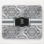 Negro elegante del damasco, blanco, plata alfombrillas de ratón